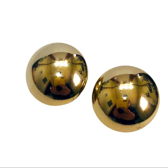 Vintage Monet Earrings Clip On Dome Button Gold